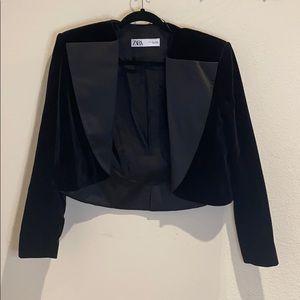 Velvet Tuxedo Crop Blazer